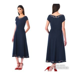 Eshakti Navy Embroidered Dress